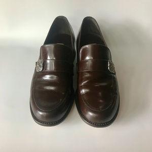 Brighton Shoes - Vintage Brighton Block Heel Leather Penny Loafer